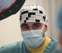 Dr. Chris Bell during surgery.