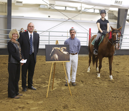 Left to right: Charlene Dalen-Brown of the EFC, Dr. Duncan Hockley, Dr. Fernando Marqués and Dr. Anne Marie Guillemaud with her horse Nellie. Photo: Myrna MacDonald.