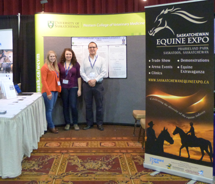 Left to right: WCVM students Hayley Kosolofski and Kara Rutherford attended the 2014 Alberta Horse Breeders and Owners Conference with large animal surgery resident Dr. Andres Sanchez.