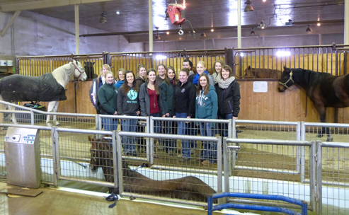 A group of second-year WCVM students toured FITT Equine, a conditioning and training facility north of Calgary. Photo courtesy of Hayley Kosolofski.