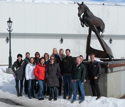 Spruce Meadows' famous tribute to Olympic gold medallist Hickstead was a must-see for WCVM students during their Alberta tour.