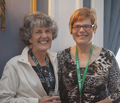 WCVM alumni Dr. Kathleen Anderson  (left) and Dr. Roxy Bell at the WCVM's 50th Anniversary celebrations. Photo: Christina Weese.